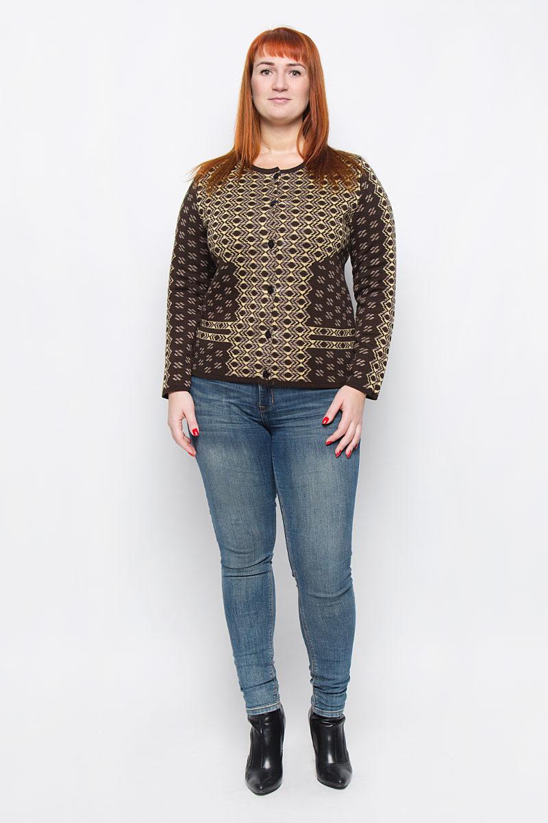 34407Стильный женский жакет от Milana Style, выполненный из качественной пряжи, отлично дополнит ваш образ. Модель с круглым вырезом горловины и длинными рукавами застегивается на пластиковые пуговицы по всей длине.