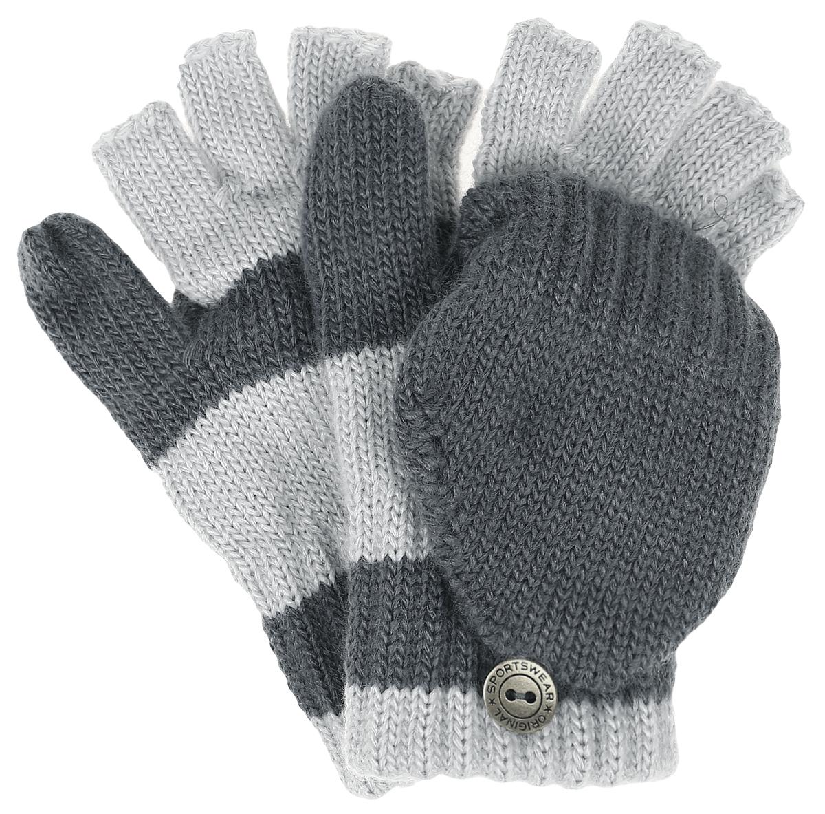 Перчатки детскиеCERES-22Теплые перчатки-варежки для девочки Margot Bis, выполненные из высококачественного акрила, хорошо сохраняют тепло. Изделие представляет собой перчатки без пальцев, к внешней стороне которых крепится капюшон, накинув его на пальцы, перчатки превращаются в варежки. Капюшон фиксируется на перчатке при помощи пуговицы. Специальная манжетная резинка не допустит попадания снега и надёжно удержит перчатки на руке. Модель оформлена принтом в полоску.