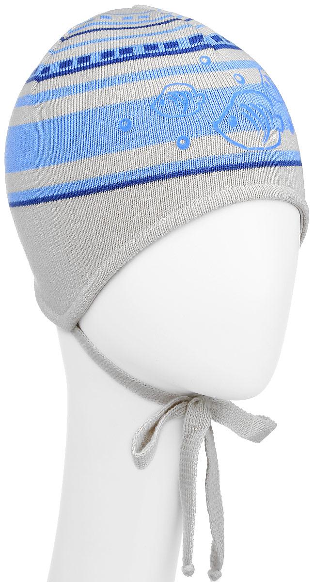 M1702-22Комфортная детская шапка ПриКиндер, выполненная из сочетания высококачественных материалов, отлично подойдет для повседневной носки в прохладную погоду. Подкладка выполнена из хлопка с добавлением эластана. Модель оформлена оригинальным принтом в полоску изображением рыбок. Шапочка выполнена с удлиненными ушками и дополнена завязочками. Уважаемые клиенты! Размер, доступный для заказа, является обхватом головы.