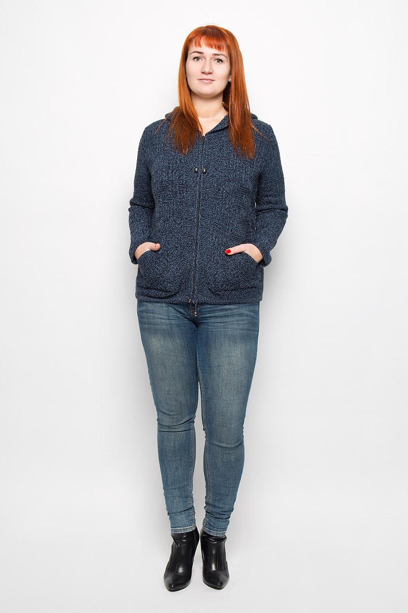 34409Женская кофта Milana Style выполнена из шерсти и ПАНа. Модель с объемным капюшоном и длинными рукавами застегивается на застежку-молнию. Край капюшона и низ изделия дополнены шнурком-кулиской. Спереди расположено два накладных кармана.