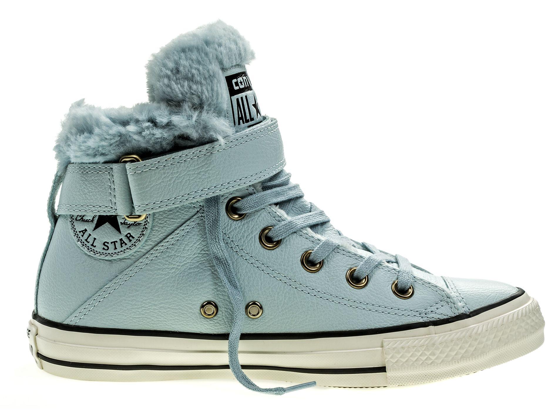 Кеды553394Модные женские кеды Chuck Taylor All Star Brea Leather + Fur от Converse выполнены из натуральной кожи. Внутренняя поверхность и стелька из искусственного меха не дадут ногам замерзнуть. Шнуровка и ремешок с застежкой-липучкой надежно зафиксируют модель на ноге. Подошва дополнена рифлением.