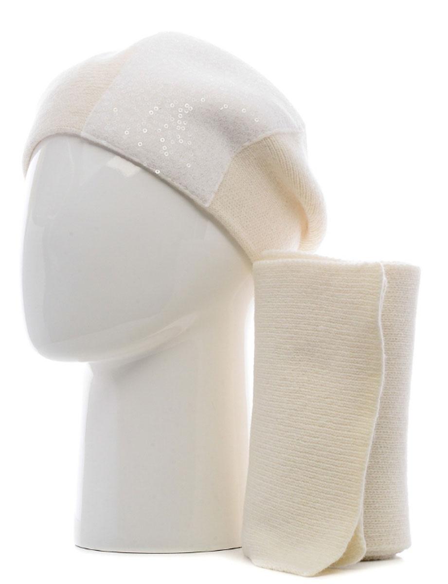 121/41603N-11Вязаный комплект аксессуаров Vittorio Richi выполнен из шерсти и полиамида. Шапка оформлена сетчатой нашивкой с пайетками. Шарф выполнен в лаконичном стиле.