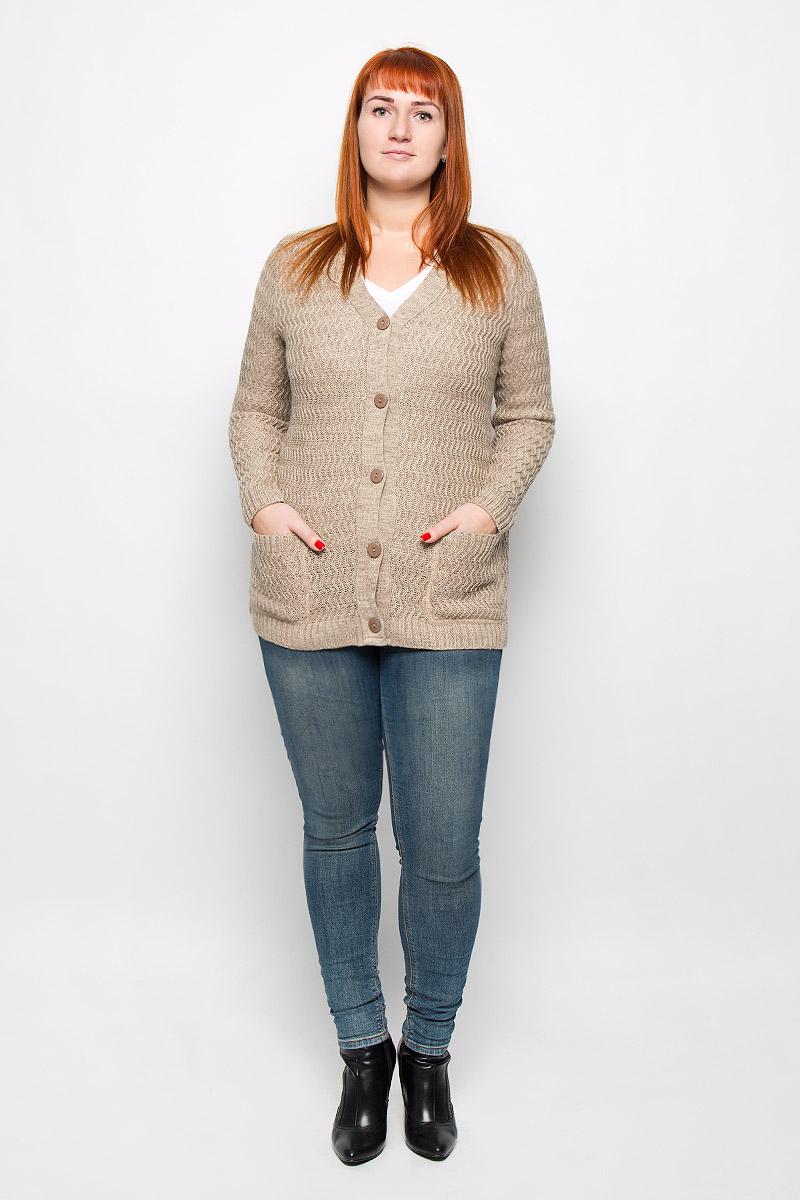 1343Стильный женский кардиган от Milana Style, выполненный из качественной пряжи, отлично дополнит ваш образ. Модель с V-образным вырезом горловины и длинными рукавами застегивается на пуговицы по всей длине и дополнена двумя накладными карманами.