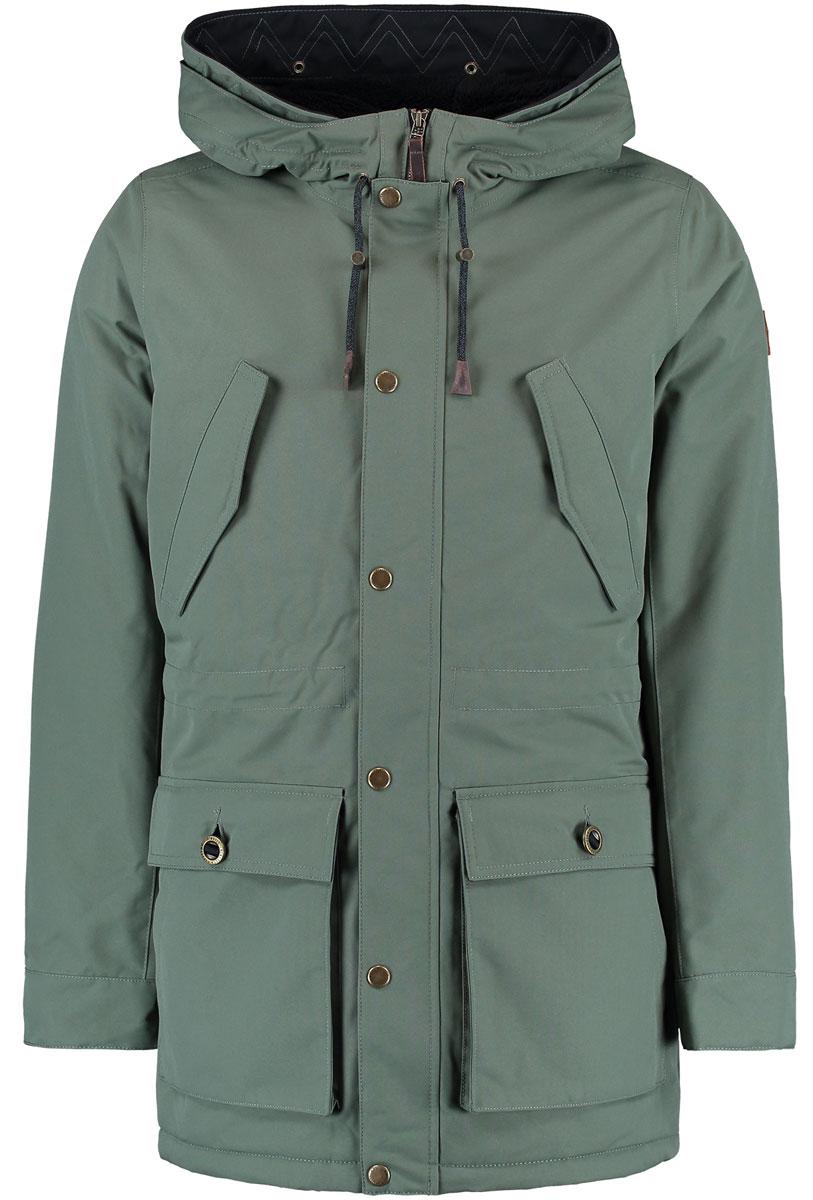 Парка650106-6092Мужская куртка ONeill выполнена из полиэстера. Модель с длинными рукавами и несъемным капюшоном застегивается на застежку-молнию и планку с кнопками. Изделие имеет спереди четыре кармана. Объем капюшона регулируется при помощи шнурка со стопперами. Ткань на талии с внутренней стороны собрана на утяжку.