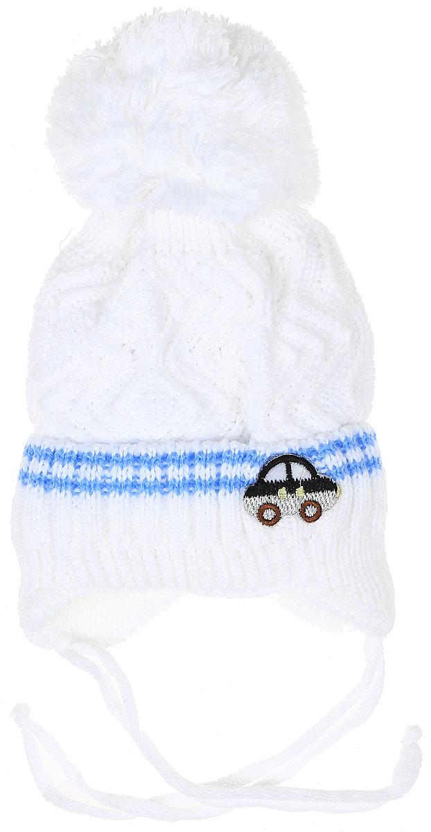 Шапка детскаяH307-22Шапка для мальчика InFante выполнена из высококачественного акрила. Подкладка выполнена из хлопка. Шапка с отворотом дополнена вышивкой в виде машинки. По бокам модель немного удлинена и имеет завязки на шнурочках, а на макушке дополнена пушистым помпоном. Уважаемые клиенты! Размер, доступный для заказа, является обхватом головы.