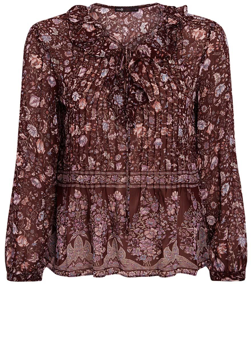 Блузка11411110/10466/4919FОригинальная женская блузка oodji Ultra, выполненная из качественного полиэстера, не оставит вас без внимания. Модель свободного кроя с V-образным вырезом горловины и длинными рукавами дополнена спереди элегантной шнуровкой и рюшами. Оригинальный принт блузки дополнен стильной вышивкой из бисера.