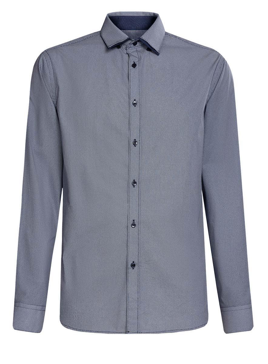 3L110223M/19370N/1079GСтильная мужская рубашка oodji выполнена из натурального хлопка. Модель с отложным воротником и длинными рукавами застегивается на пуговицы спереди. Манжеты рукавов дополнены застежками-пуговицами. Оформлена рубашка оригинальным принтом в мелкий узор.