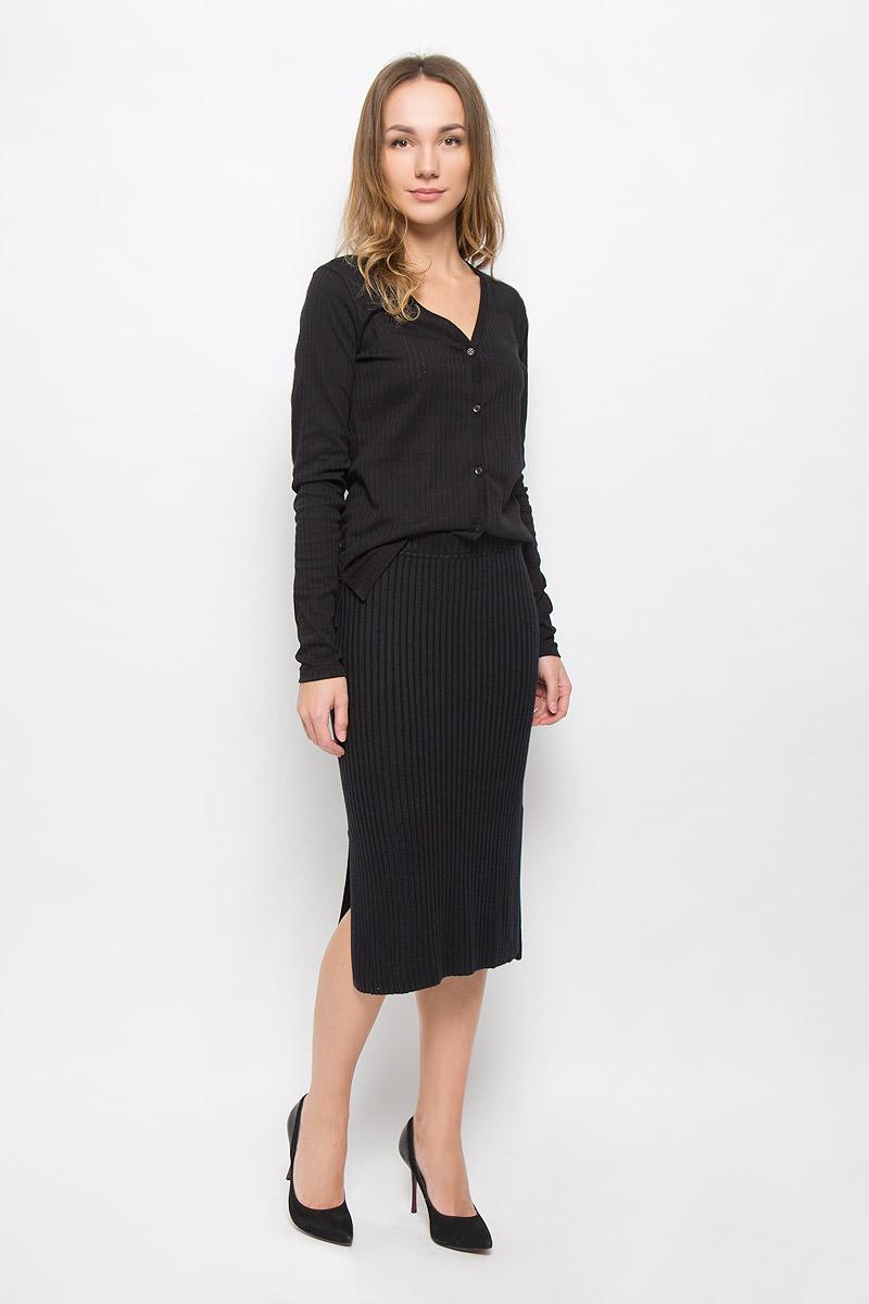 Юбка5513364.00.75_2730Стильная юбка Tom Tailor Contemporary изготовлена из вискозы с добавлением полиамида. Юбка-карандаш с эластичным поясом дополнена двумя разрезами по бокам.
