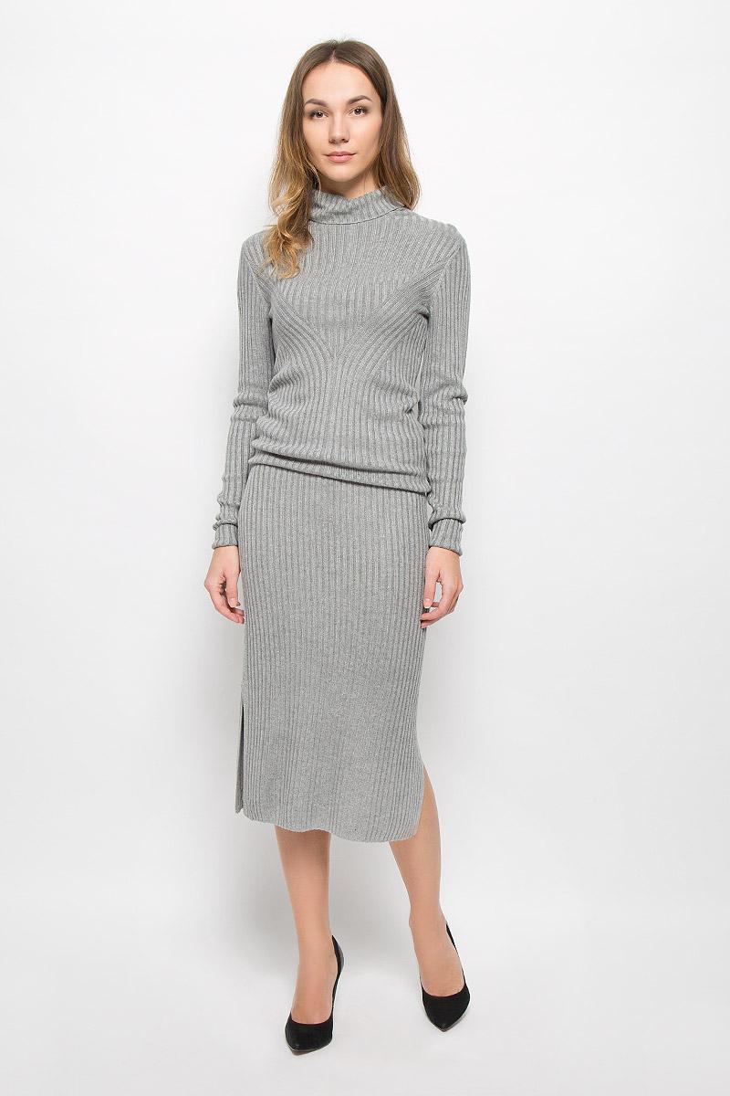 5513364.00.75_2730Стильная юбка Tom Tailor Contemporary изготовлена из вискозы с добавлением полиамида. Юбка-карандаш с эластичным поясом дополнена двумя разрезами по бокам.