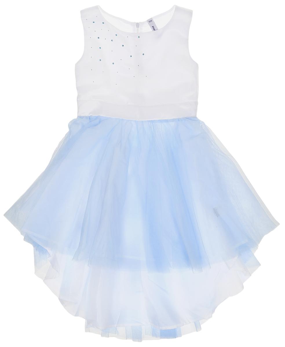 Платье462021Нарядное платье для девочки без рукавов и с круглым вырезом горловины. Верх выполнен из мягкого гипюра, хлопковая подкладка обеспечивает максимальное удобство. Удлиненная задняя часть создает эффект шлейфа. Украшено асимметричной россыпью жемчужных страз с правого плеча. Застегивается на потайную молнию на спинке.
