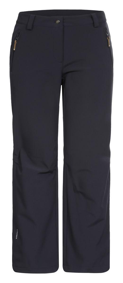Брюки654020542IV_290Женские брюки от Icepeak выполнены из эластичного полиэстера, с изнаночной стороны они утеплены флисом. Модель застегивается на пуговицу в талии и ширинку на молнии, имеются шлевки для ремня. Спереди брюки дополнены двумя врезными карманами на застежках-молниях. Изделие оснащено светоотражающими элементами. Рекомендуемый температурный режим для данной модели до -5°С из расчета на среднюю физическую активность, ходьбу 4 км/ч.