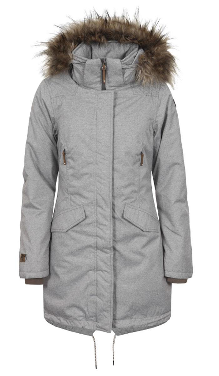 Куртка653042592IVУдобное женское пальто Icepeak согреет вас в прохладную погоду и позволит выделиться из толпы. Модель с длинными рукавами, воротником-стойкой и съемным капюшоном выполнена из водонепроницаемой и непродуваемой мембранной ткани. Подкладка и утеплитель выполнен из высококачественного полиэстера (120 г/м2). Объем капюшона регулируется при помощи шнурка- кулиски со стопперами, он оформлен искусственным мехом, который пристегивается с помощью кнопок и молнии. Пальто застегивается на застежку-молнию спереди и имеет ветрозащитный клапан на кнопках. Изделие дополнено двумя втачными карманами с клапанами на кнопках спереди, внутренним карманом на застежке-молнии и внутренним карманом-сеткой. Манжеты рукавов дополнены внутренними трикотажными манжетами. Низ и линия талии изделия дополнены шнурками-кулисками со стопперами.