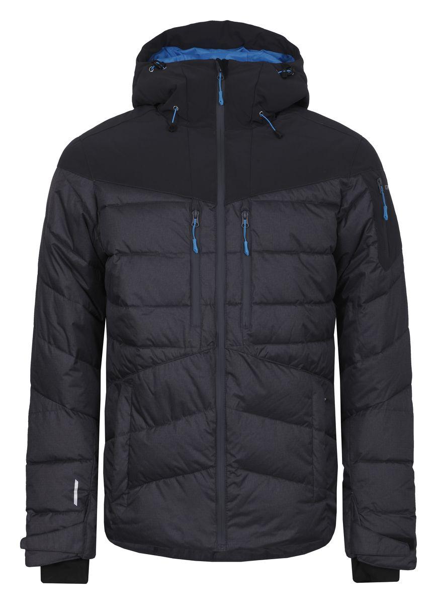 Куртка656233593IVМужская куртка Icepeak Keelan с длинными рукавами и несъемным капюшоном выполнена из полиэстера. Наполнитель - синтепон. Куртка застегивается на застежку-молнию спереди. Изделие оснащено четырьмя втачными карманами на молниях спереди, втачным карманом на молнии на рукаве, внутренним втачным карманом на молнии и двумя накладными карманами-сетками. Рукава дополнены внутренними текстильными манжетами. Объем капюшона регулируется при помощи шнурка-кулиски. Низ изделия также оснащен шнурком-кулиской. Куртка имеет противоснежную вставку на кнопках изнутри.