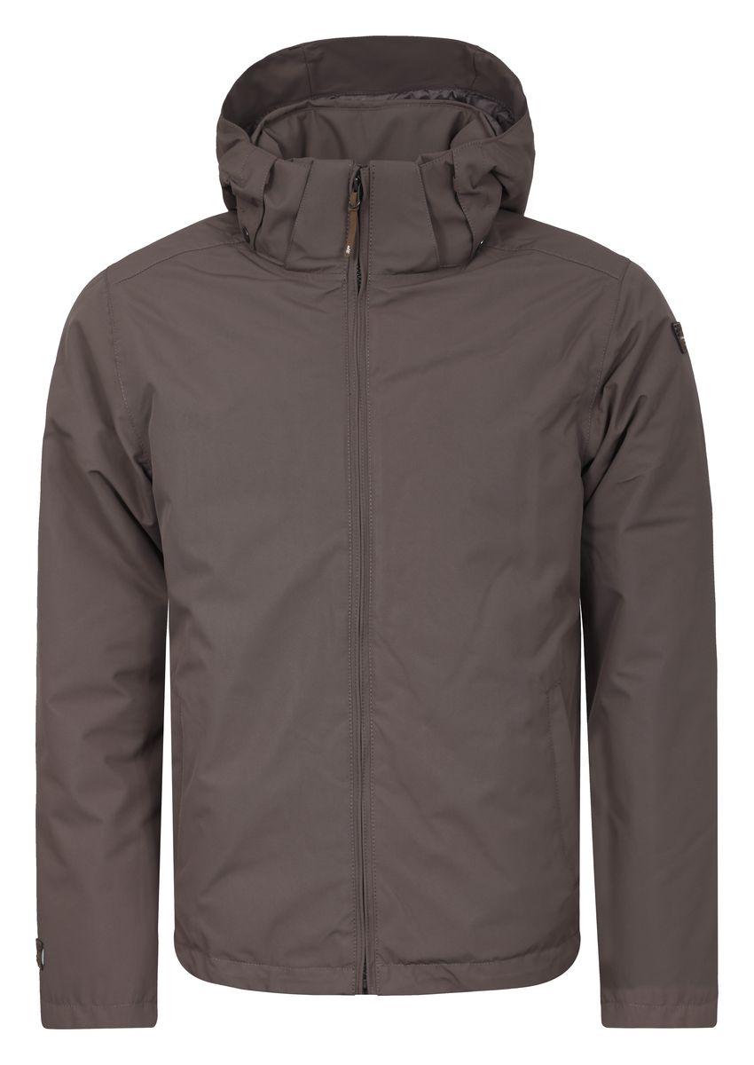 656038532IVМужская куртка Icepeak Thad с длинными рукавами и съемным капюшоном на кнопках и застежке-молнии выполнена из полиэстера. Наполнитель - синтепон. Куртка застегивается на застежку-молнию спереди. Изделие оснащено двумя втачными карманами на молниях спереди, внутренним втачным карманом на молнии и накладным карманом-сеткой. Объем капюшона регулируется при помощи шнурка-кулиски.
