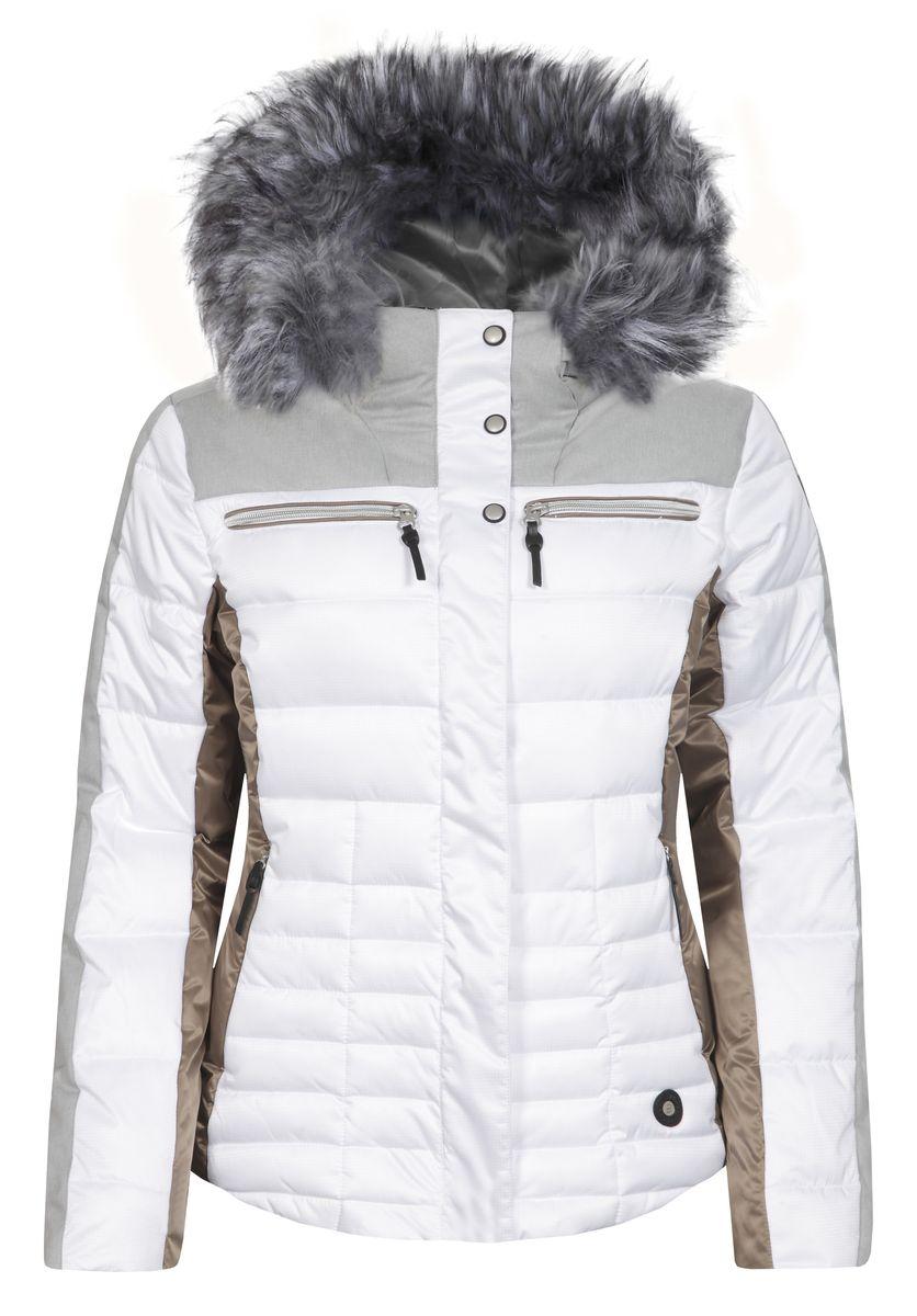 653224512IVКуртка Icepeak, изготовленная из водоотталкивающей и ветрозащитной ткани, которая создает оптимальный микроклимат внутри куртки, утеплена синтепоном. В качестве подкладки используется полиамид. Куртка с несъемным капюшоном застегивается на застежку-молнию и имеет ветрозащитный клапан на кнопках. Капюшон оформлен съемным искусственным мехом на застежке-молнии и регулируется с помощью эластичного шнурка-кулиски со стопперами. Куртка оформлена четырьмя втачными карманами на застежках-молниях спереди, с внутренней стороны расположен один втачной карман на молнии. Низ куртки дополнен шнурком-кулиской со стопперами. Также модель дополнена снегозащитной юбкой на кнопках. Изделие оснащено светоотражающими элементами.