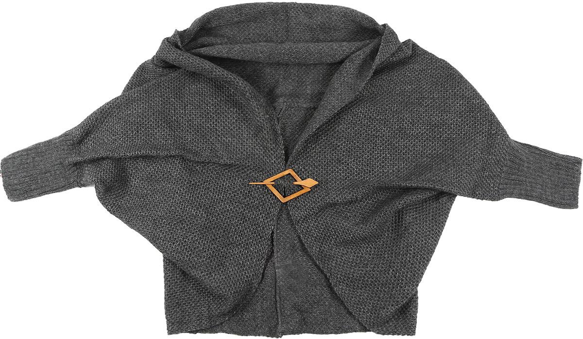 1318Женский кардиган Milana Style выполнен из шерсти и ПАНа. Модель с V-образным вырезом горловины и рукавами длинной 3/4 покроя летучая мышь. Застегивается изделие на оригинальную деревянную булавку. Манжеты рукавов связаны резинкой.