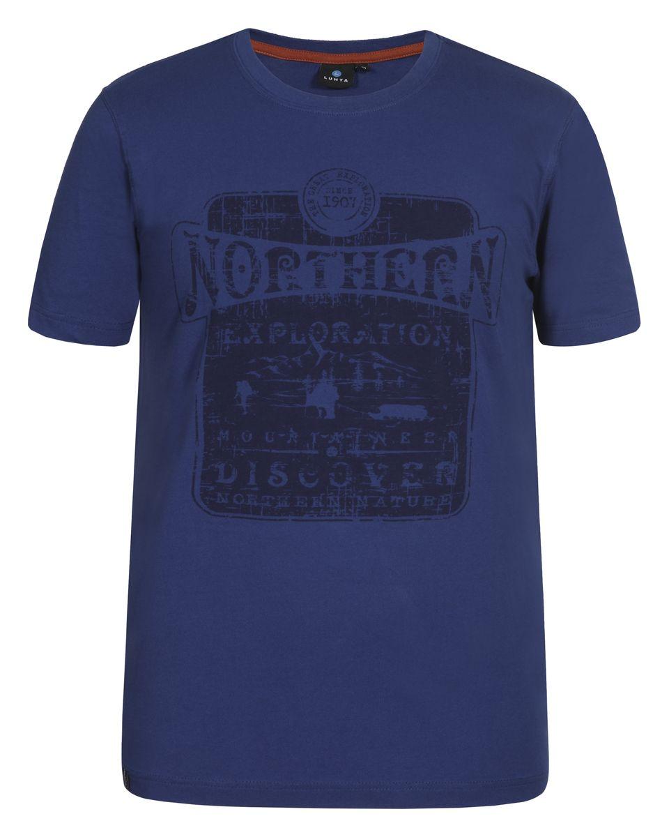 636587461LVМужская футболка Luhta Pieti выполнена из натурального хлопка. Модель с круглым вырезом горловины и короткими рукавами оформлена оригинальным принтом. Горловина дополнена трикотажной резинкой.
