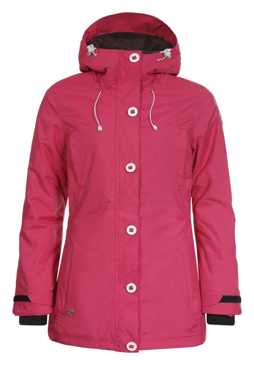 Куртка636427377LVЖенская куртка Luhta Bernice с длинными рукавами и несъемным капюшоном выполнена из полиамида. Наполнитель - полиэстер. Куртка застегивается на застежку-молнию спереди и имеет ветрозащитный клапан на пуговицах. Изделие оснащено двумя втачными карманами на застежках-молниях и двумя открытыми втачными карманами спереди, а также внутренним втачным карманом на молнии и накладным карманом-сеткой. Рукава оснащены внутренними трикотажными манжетами. На талии и по низу куртка дополнена шнурками-кулисками со стопперами. Объем капюшона также регулируется при помощи шнурка-кулиски.