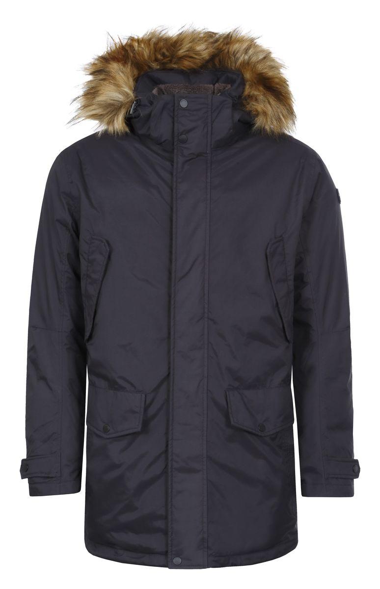 Куртка636178377L7VМужское пальто Luhta Raine выполнено из 100% полиамида. В качестве подкладки и утеплителя используется 100% полиэстер. Материал изготовлен при помощи технологий Waterproof и Windproof. Технология Waterproof обеспечивает защиту от дождя и влаги за счет приваренной с внутренней стороны мембраны, а технология Windproof защитит от ветра и гарантирует комфорт в течение всего дня. Модель с воротником-стойкой и съемным капюшоном застегивается на застежку-молнию с двумя бегунками и имеет ветрозащитную планку на кнопках. Капюшон, оформленный искусственным мехом, пристегивается к изделию за счет застежки-молнии и кнопок. Низ рукавов дополнен внутренними эластичными манжетами и хлястиками на кнопках, а низ изделия - эластичным шнурком-кулиской со стоплерами. Объем по талии регулируется за счет скрытого, эластичного шнурка-кулиски со стоплерами. Спереди расположено шесть прорезных карманов, два из которых на застежках-молниях, а четыре с клапанами на кнопках. С внутренней стороны расположен...