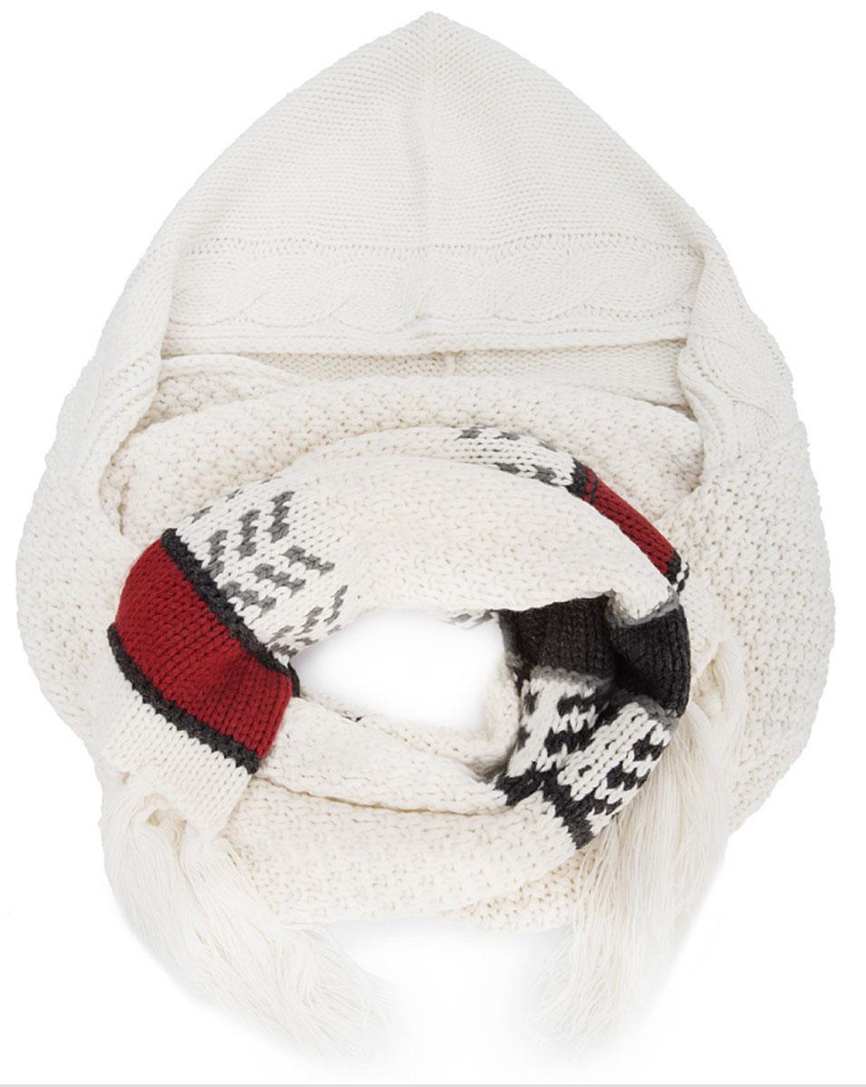 ШарфMX3024943_WM_SCR_010Вязаный шарф с капюшоном от Mexx изготовлен из полиакрила и оформлен узорным принтом принтом. Края декорированы кисточками.