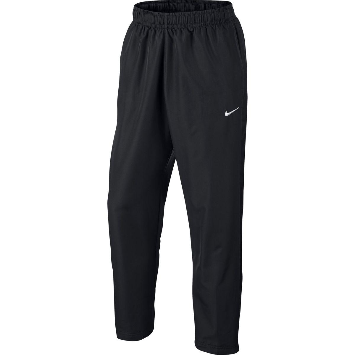 Брюки спортивные644835-011Брюки Nike Season Swoosh, шьются из ткани Polyfabric, котораяимеет немного рельефную структуру, что в сочетании с открытой кромкой, создает спортивный элегантный образ и обеспечивает комфорт.