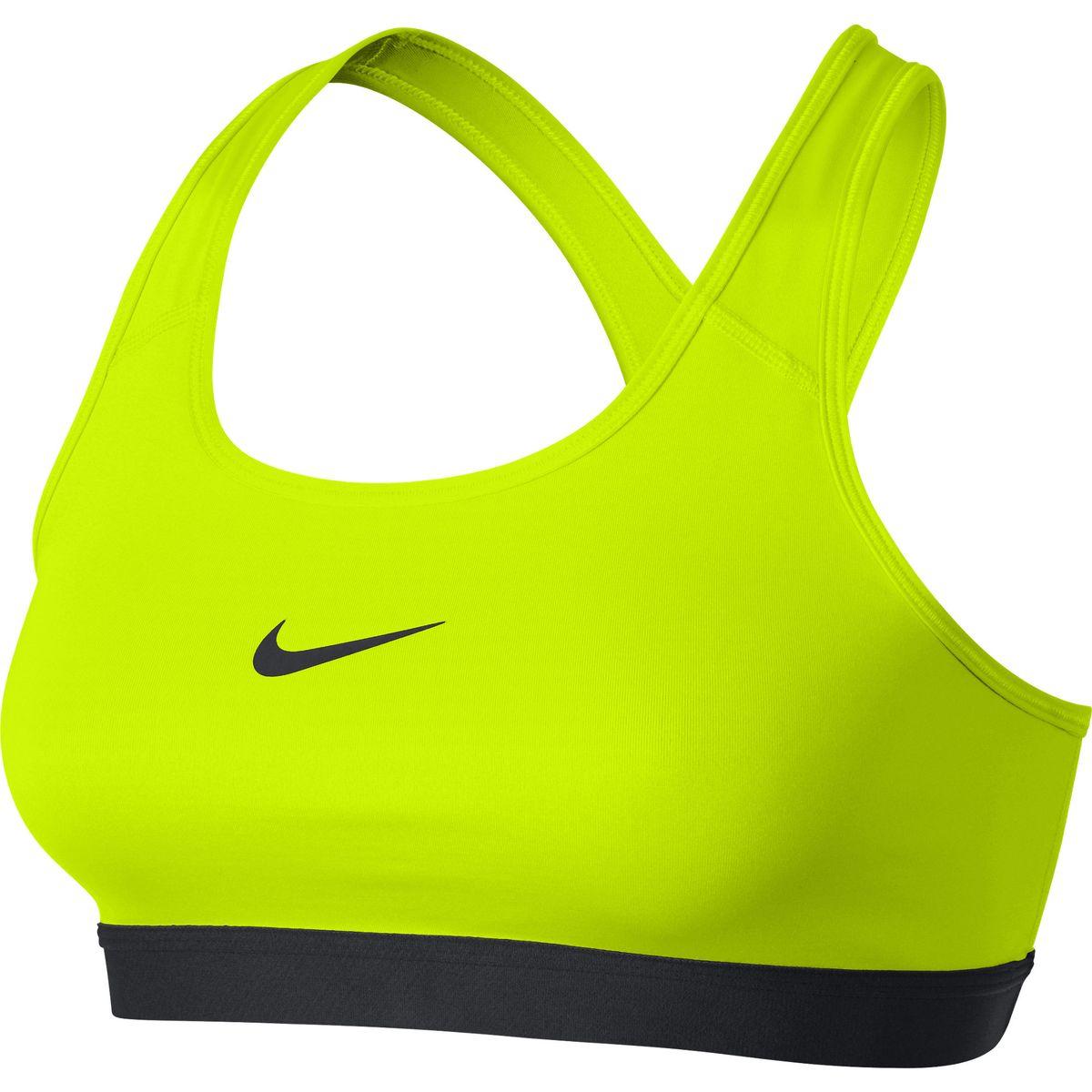 Топ-бра650831-010Спортивный топ от Nike выполнен из гладкого эластичного трикотажа черного цвета. Технология Dry-Fit отводит лишнюю влагу во время активности и позволяет коже дышать. Детали: круглый вырез, спинка-борцовка, эластичный нижний кант.
