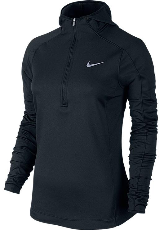 Лонгслив685808-010Стильный женский лонгслив Nike Thermal, изгшотовленный из влагоотводящего материала Dri-FIT, предназначен специально для бега. Модель облегающего кроя с капюшоном и длинными рукавами спереди от горловины застегивается на пластиковую застежку-молнию. Лонгслив с комфортными плоскими швами выполнен из приятной на ощупь эластичной влаговыводящей ткани Dri-FIT. Лонгслив Nike Thermal - отличный выбор для целеустремленных и уверенных в себе женщин