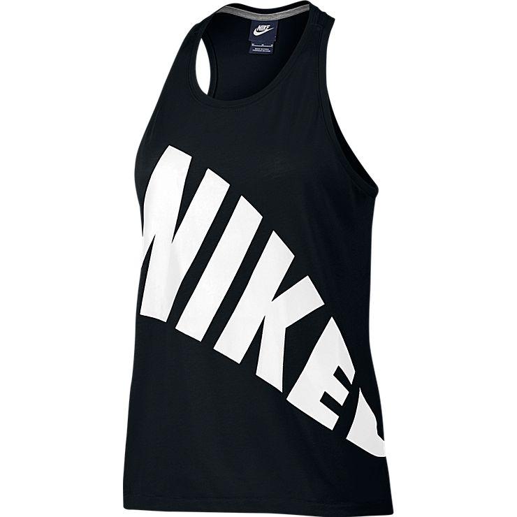 Майка804066-010Майка Nike W NSW Tор из хлопкового трикотажа. Круглый вырез, удлиненная спинка, крупный логотип бренда.