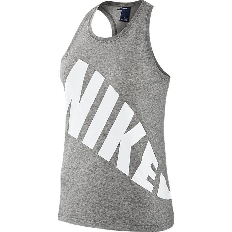 Майка804066-063Майка Nike W NSW Tор TNK из мягкого текстиля. Прямой крой, спинка-борцовка, контрастный принт.