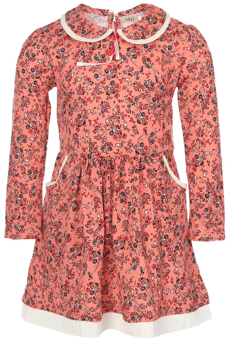 ПлатьеWJD26049М-3Платье для девочки M&D выполнено из натурального хлопка. Модель средней длины с длинными рукавами имеет отложной воротник и застегивается на пуговицу на спинке. Платье оформлено оригинальным цветочным принтом. Модель дополнена двумя втачными карманами спереди, а также имеет эластичную резинку на талии.