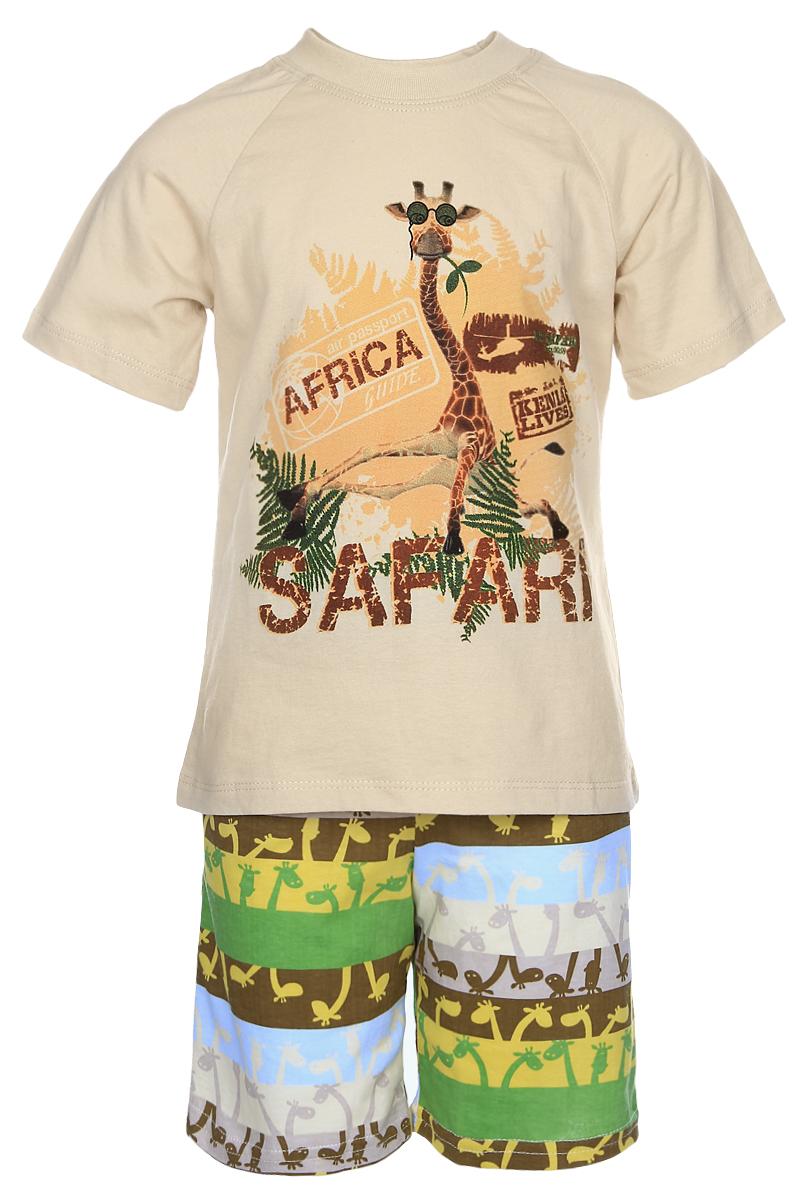 5591Спортивный костюм для мальчика Pastilla Сорванец выполнен из натурального хлопка и включает в себя легкую футболку и шорты. Футболка с короткими рукавами-реглан и круглым вырезом горловины оформлена крупным красочным принтом с изображением жирафа. Шорты прямого кроя и средней посадки имеют широкую эластичную резинку на поясе. Изделие дополнено двумя втачными карманами спереди, украшено ярким принтом.