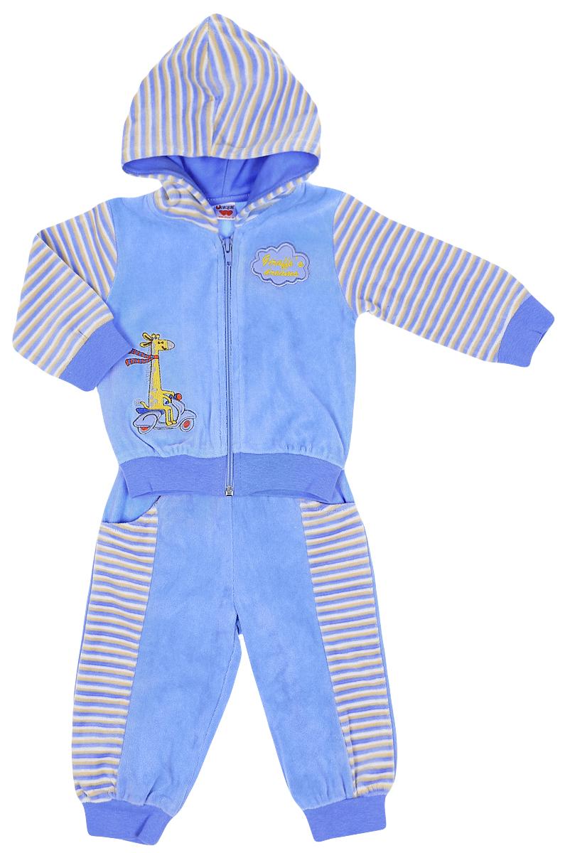 Комплект одеждыUN1038-10Детский комплект Unique состоит из кофточки и штанишек. Комплект выполнен из хлопка с добавлением полиэстера. Кофта с длинным рукавом и капюшоном застегивается на застежку-молнию. Низ и рукава кофточки дополнены трикотажными манжетами. Изделие украшено вышивкой в виде жирафа, а также надписью Giraffes Dreamer. Штанишки имеют широкий эластичный пояс. Брючины также дополнены эластичными манжетами. Изделие дополнено двумя втачными карманами спереди.