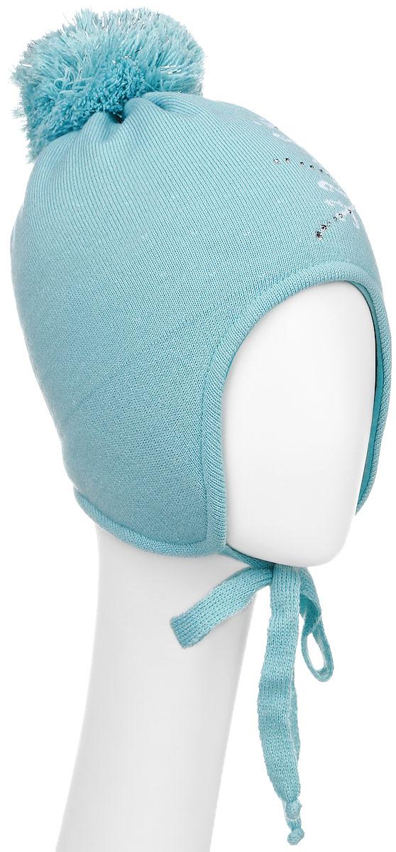 Шапка детскаяD3845-22-1Теплая шапка для девочки ПриКиндер выполнена из высококачественного акрила и шерсти. Подкладка выполнена из сочетания хлопка и шерсти. Шапка оформлена принтом с изображением снежинки и дополнена выкладкой из страз. На макушке изделие оформлено помпоном с блестящим люрексом. По бокам модель дополнена удлиненными ушками, которые можно завязать на шнурочки. Уважаемые клиенты! Размер, доступный для заказа, является обхватом головы.