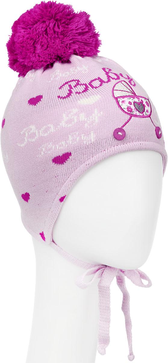Шапка детскаяD2494-22-1Стильная шапка для девочки ПриКиндер идеально подойдет для прогулок в прохладное время года. Изготовленная из акрила с добавлением хлопка, она обладает хорошими дышащими свойствами и хорошо удерживает тепло. Шапка декорирована аппликацией в виде коляски и надписями, а на макушке украшена помпоном. Модель застегивается в области подбородка с помощью завязок. Уважаемые клиенты! Размер, доступный для заказа, является обхватом головы ребенка.