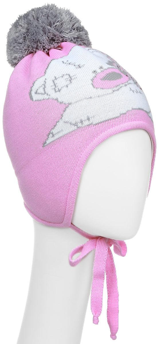 Шапка детскаяD3-84422-1Теплая шапка для девочки ПриКиндер выполнена из высококачественного акрила и шерсти. Подкладка выполнена из сочетания хлопка и лайкры. Шапка оформлена принтом с декорацией из страз и на макушке дополнена пушистым помпоном. По бокам модель дополнена удлиненными ушками, которые можно завязать на шнурочки. Уважаемые клиенты! Размер, доступный для заказа, является обхватом головы.