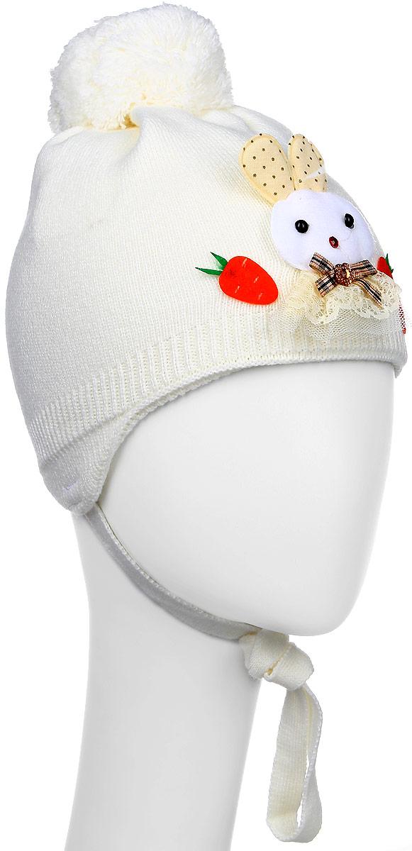Зайчик-22-1Стильная вязаная шапка для девочки Concept идеально подойдет для прогулок в прохладное время года. Изготовленная из акрила с добавлением шерсти, она обладает хорошими дышащими свойствами и хорошо удерживает тепло. Шапка декорирована аппликацией в виде зайчика, а на макушке украшена помпоном. Модель застегивается в области подбородка с помощью завязок. Уважаемые клиенты! Размер, доступный для заказа, является обхватом головы ребенка.