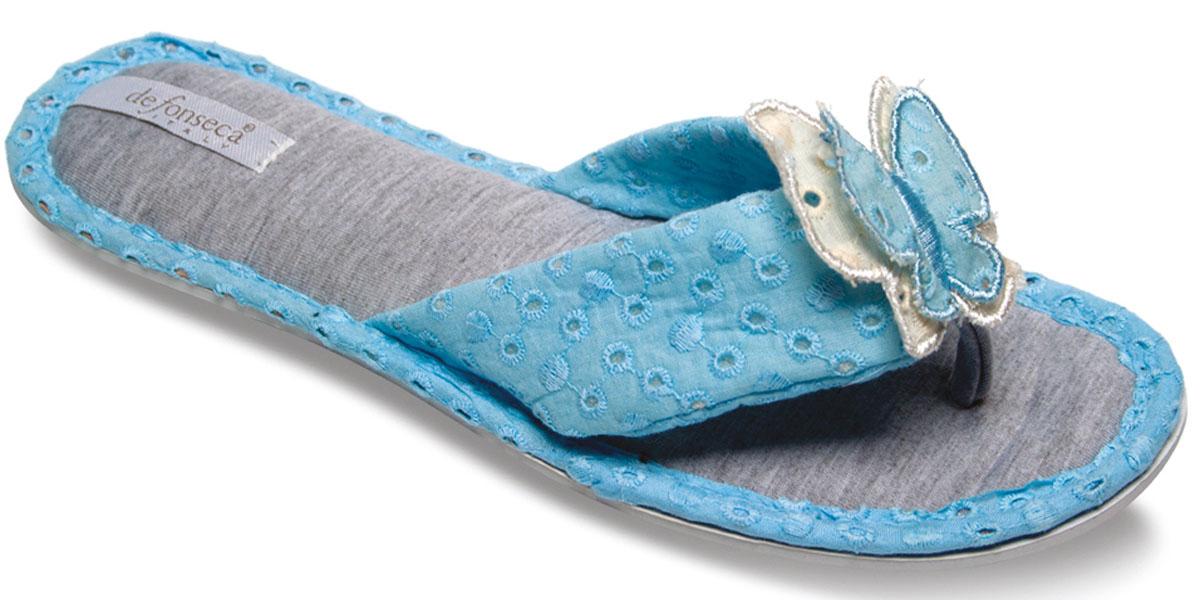 FRESH61Женские тапки-сланцы De Fonseca полностью выполнены из натурального дышащего материала и оформлены текстильной бабочкой. Резиновая подошва оснащена противоскользящим рифлением.