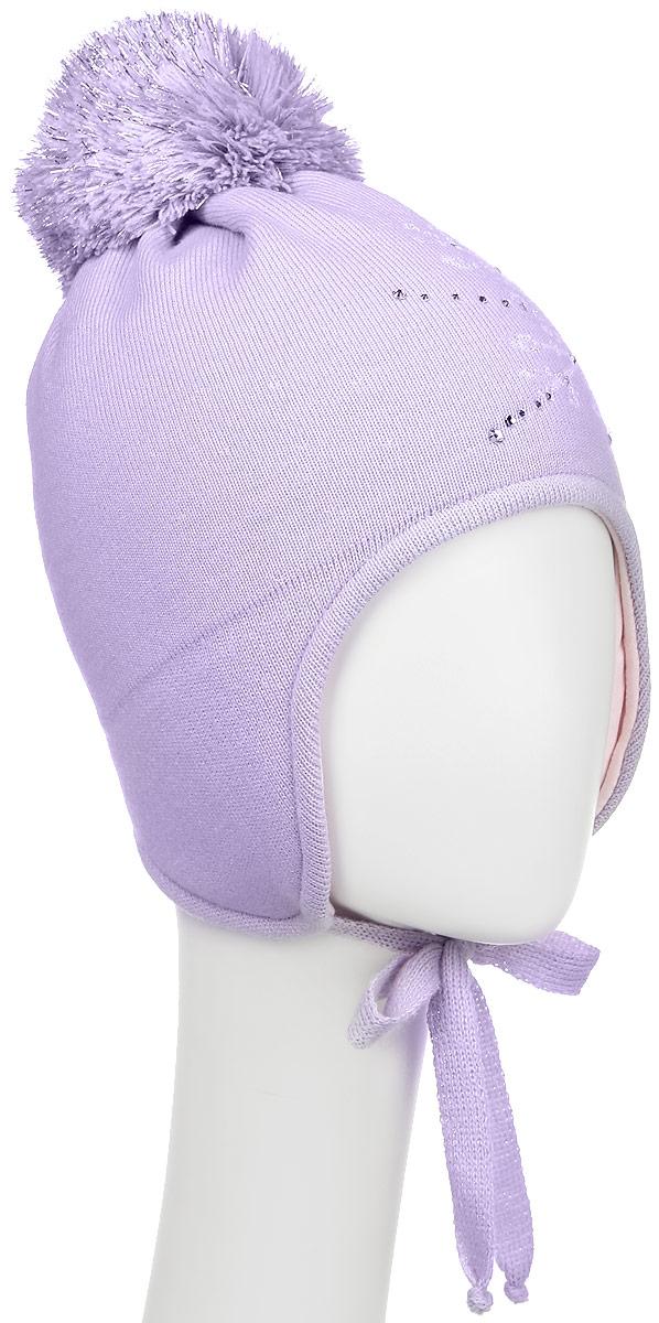 D3845-22-1Теплая шапка для девочки ПриКиндер выполнена из высококачественного акрила и шерсти. Подкладка выполнена из сочетания хлопка и шерсти. Шапка оформлена принтом с изображением снежинки и дополнена выкладкой из страз. На макушке изделие оформлено помпоном с блестящим люрексом. По бокам модель дополнена удлиненными ушками, которые можно завязать на шнурочки. Уважаемые клиенты! Размер, доступный для заказа, является обхватом головы.