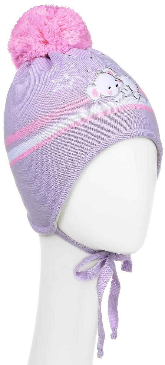 D2834-22-1Теплая шапка для девочки ПриКиндер выполнена из высококачественного акрила и шерсти. Подкладка выполнена из сочетания хлопка и шерсти. Шапка оформлена контрастным принтом, который дополнена выкладкой из страз. На макушке изделие оформлено помпоном. По бокам модель дополнена удлиненными ушками, которые можно завязать на шнурочки. Уважаемые клиенты! Размер, доступный для заказа, является обхватом головы.