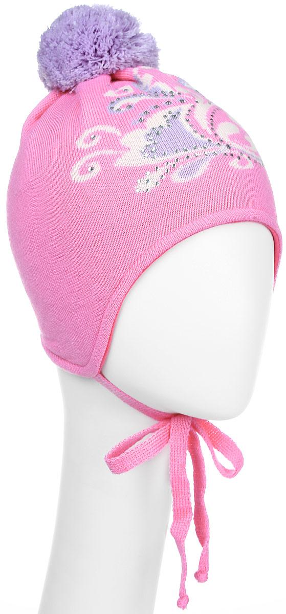 Шапка детскаяD2466-22-1Стильная шапка для девочки ПриКиндер идеально подойдет для прогулок в прохладное время года. Изготовленная из акрила, она обладает хорошими дышащими свойствами и хорошо удерживает тепло. Шапка оформлена интересным принтом и стразами, а на макушке украшена небольшим помпоном. Модель застегивается в области подбородка с помощью завязок. Уважаемые клиенты! Размер, доступный для заказа, является обхватом головы ребенка.