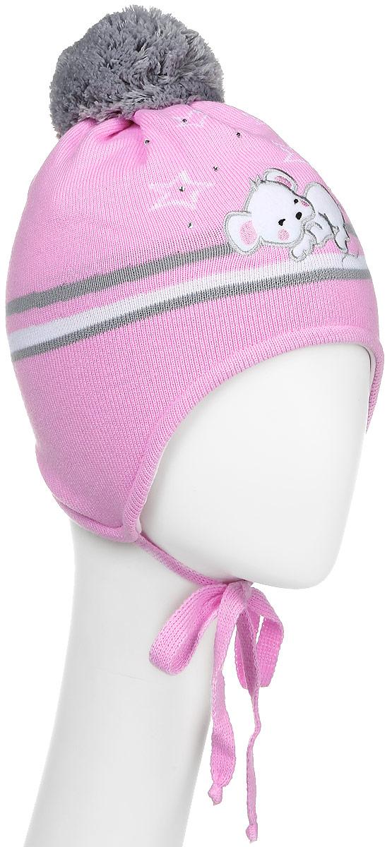 Шапка детскаяD2834-22-1Теплая шапка для девочки ПриКиндер выполнена из высококачественного акрила и шерсти. Подкладка выполнена из сочетания хлопка и шерсти. Шапка оформлена контрастным принтом, который дополнена выкладкой из страз. На макушке изделие оформлено помпоном. По бокам модель дополнена удлиненными ушками, которые можно завязать на шнурочки. Уважаемые клиенты! Размер, доступный для заказа, является обхватом головы.