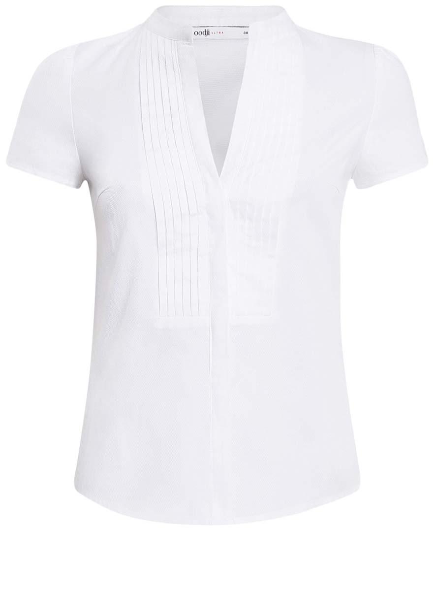 Блузка11402088/42287/1000NЖенская блузка oodji Ultra исполнена из плотной дышащей ткани, имеет короткие рукава и круглый вырез горловины с декольте. Застегивается спереди на пуговицы и оформлено плиссировкой на груди.