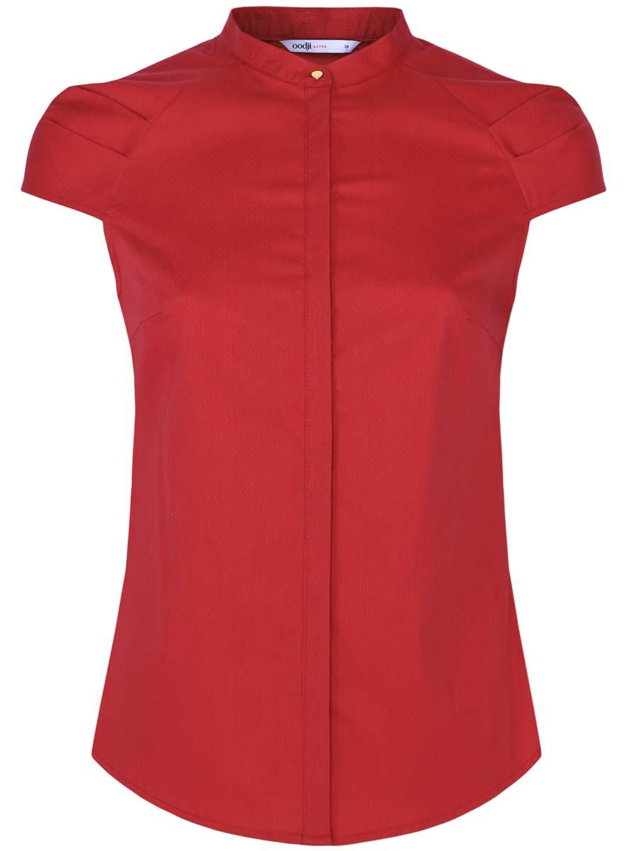 Блузка11403196-1/18193/1200NЖенская блуза oodji Ultra с короткими рукавами-реглан длиной 3/4 и воротником-стойкой выполнена из эластичного хлопка с добавлением полиэстера. Блузка застегивается на потайные пуговицы спереди. Рукава украшены декоративными складками.