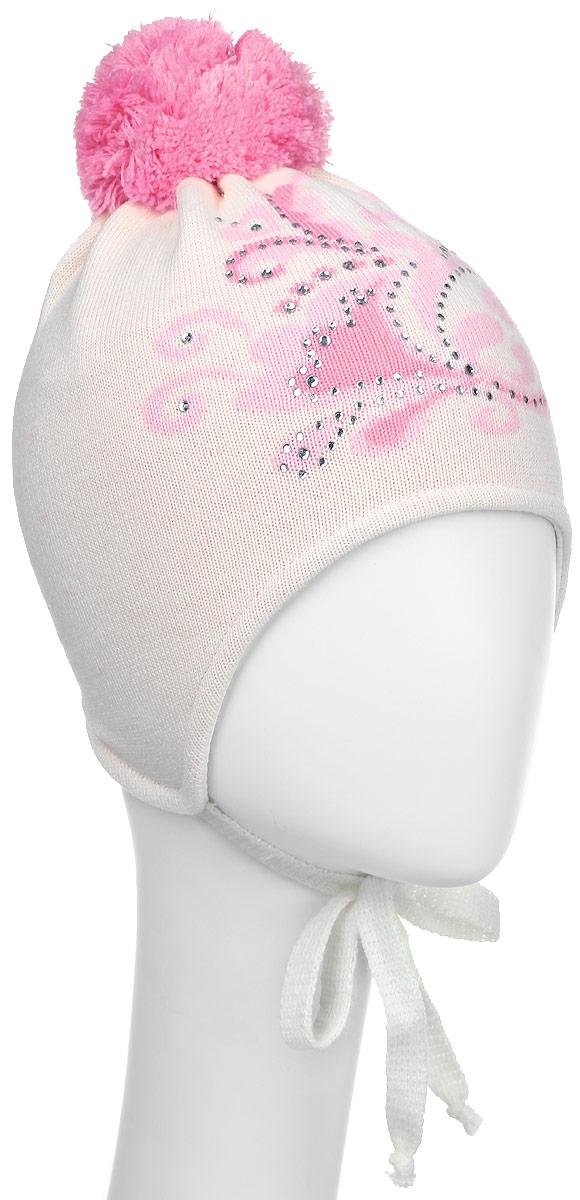 D2466-22-1Стильная шапка для девочки ПриКиндер идеально подойдет для прогулок в прохладное время года. Изготовленная из акрила, она обладает хорошими дышащими свойствами и хорошо удерживает тепло. Шапка оформлена интересным принтом и стразами, а на макушке украшена небольшим помпоном. Модель застегивается в области подбородка с помощью завязок. Уважаемые клиенты! Размер, доступный для заказа, является обхватом головы ребенка.