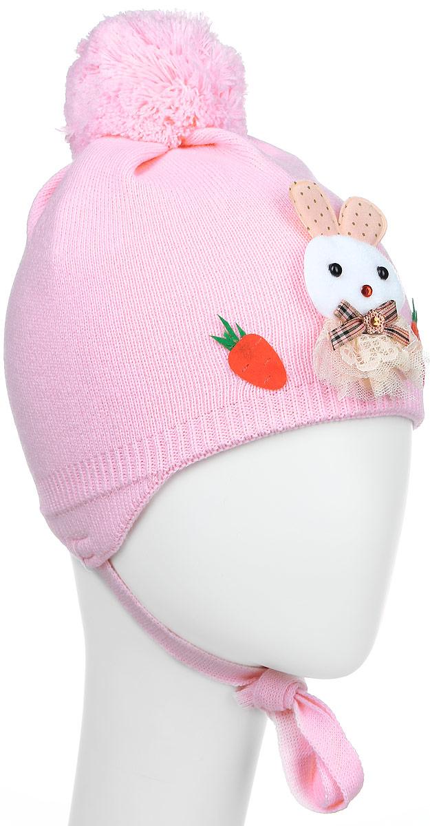 Шапка детскаяЗайчик-22-1Стильная вязаная шапка для девочки Concept идеально подойдет для прогулок в прохладное время года. Изготовленная из акрила с добавлением шерсти, она обладает хорошими дышащими свойствами и хорошо удерживает тепло. Шапка декорирована аппликацией в виде зайчика, а на макушке украшена помпоном. Модель застегивается в области подбородка с помощью завязок. Уважаемые клиенты! Размер, доступный для заказа, является обхватом головы ребенка.