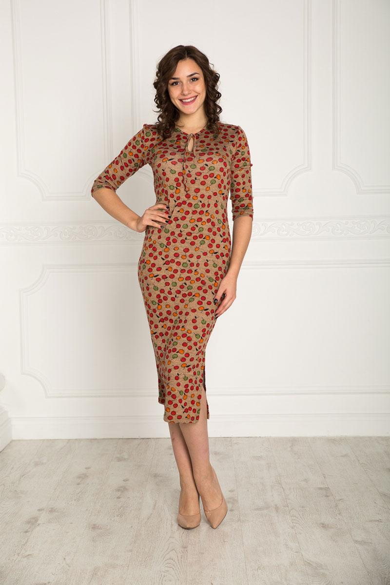 Платье912Платье Lautus выполненное из полиэстера с добавлением шерсти и эластана. Модель-миди, с рукавами 3/4 и круглым вырезом горловины. Оформлено изделие принтом в виде яблок.
