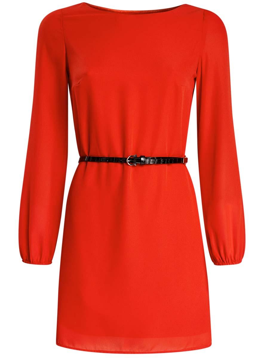 Платье11900150-5B/32823/4500NСтильное платье oodji Ultra выполнено из 100% полиэстера. Модель с круглым вырезом горловины и длинными рукавами дополнена ремнем из искусственной кожи с металлической пряжкой.