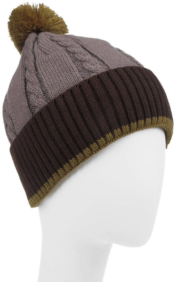 Фристайл-22-1Теплая шапка для мальчика Concept выполнена из высококачественного акрила и шерсти. Подкладка выполнена из мягкого полиэстера. Шапка с отворотом оформлена вязкой с узорами и на макушке дополнена пушистым помпоном. Уважаемые клиенты! Размер, доступный для заказа, является обхватом головы.