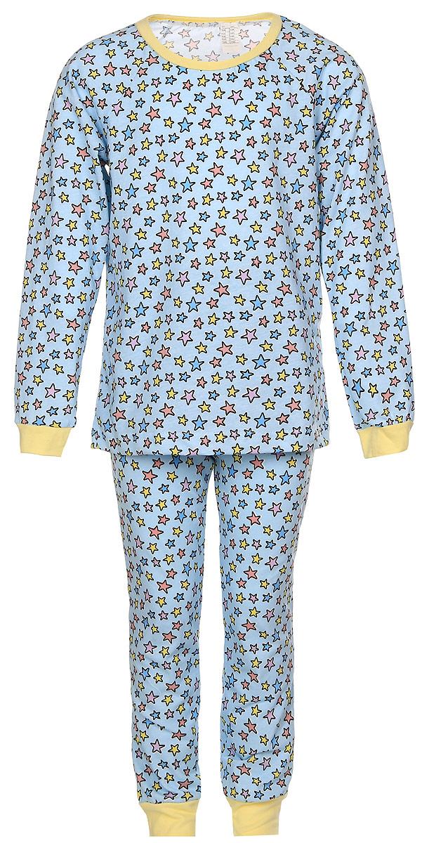 Пижама7030Пижама для девочки Pastilla Звездочка, состоящая из футболки с длинным рукавом и брюк, изготовлена из натурального хлопка. Футболка с длинными рукавами-реглан и круглым вырезом горловины приятная на ощупь. Брюки на талии имеют эластичную резинку. Модель оформлена принтом в виде звезд.
