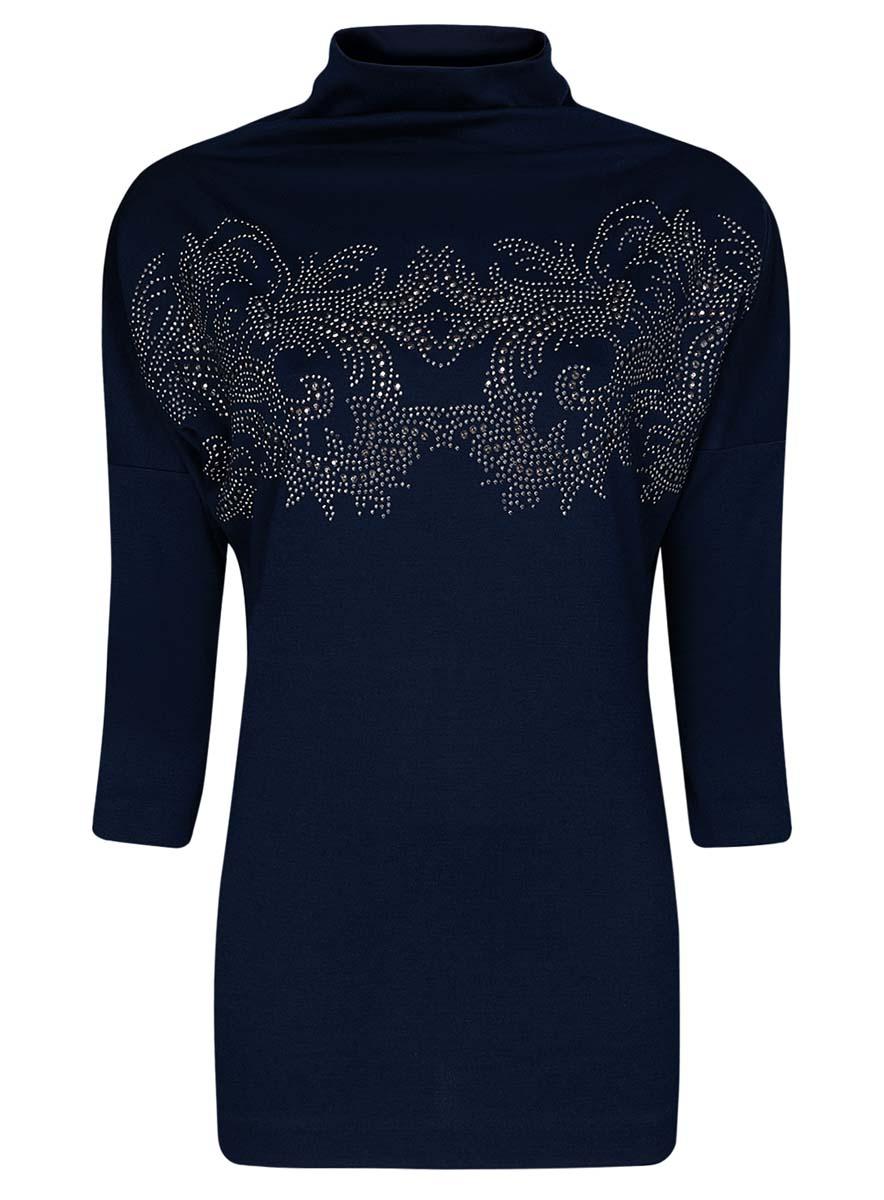 24808005-1/37809/7991PТонкий женский свитер oodji Collection выполнен из полиэстера с добавлением эластана. Модель с воротником-стойкой и рукавами длиной 7/8 оформлена оригинальным орнаментом, выложенным из страз.